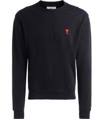 ami alexandre mattiussi ami paris black round neck sweatshirt with logo