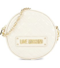 love moschino women's quilted circle crossbody bag - avorio