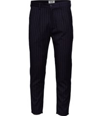 linus slim stripe navy kostymbyxor formella byxor blå just junkies