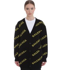 balenciaga cardigan in black wool