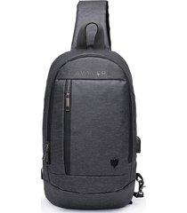 mochila mini transversal cavalera cinza escuro - tricae
