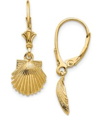 shell leverback drop earrings in 14k yellow gold