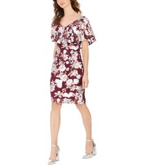 connected floral foil print cocktail dress, created for macy's
