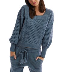 allison new york women's square neck cable knit sweater