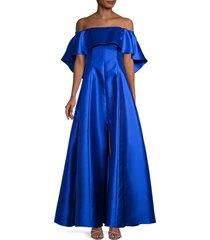 sachin & babi women's wynne satin gown - cobalt - size 10