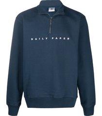 daily paper alias high neck sweatshirt - blue