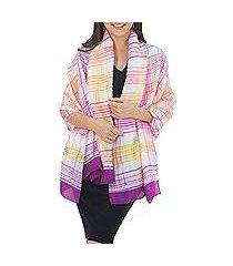 rayon and silk blend shawl, 'sunny rose plaid' (thailand)