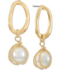 alfani gold-tone link & tied imitation pearl drop earrings, created for macy's