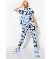 petite tie dye t-shirt en legging set met zijstreep, navy