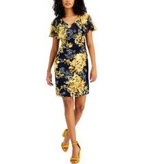 connected petite popover floral-print sheath dress