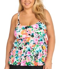 island escape trendy plus size honey bloom tiered underwire tankini top, created for macy's women's swimsuit