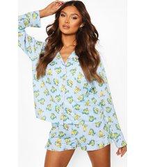 jersey pyjama set met shorts enknopen, blauw