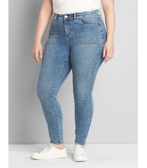 lane bryant women's curvy fit high-rise skinny jean- medium wash 24 medium denim