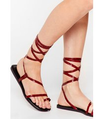 womens tie a little harder patent faux leather sandals - wine