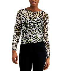bar iii printed mesh top, created for macy's