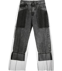 diesel black gold layered tulle jeans - grey