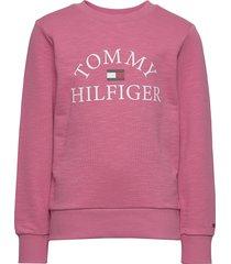 essential logo sweat sweat-shirt trui roze tommy hilfiger