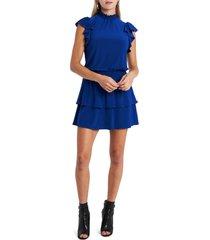 women's 1.state flutter sleeve drop waist knit dress, size large - blue