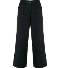 etro tweed flared trousers - blue