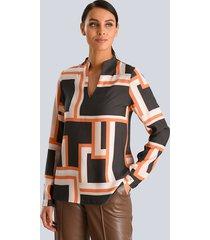 blouse alba moda zwart::oranje