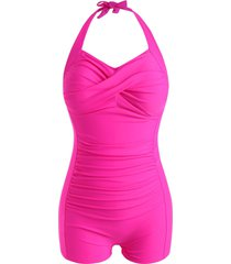 plus size twisted halter boyleg tummy control one-piece swimsuit