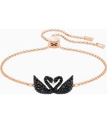braccialetto swarovski iconic swan, nero, placcato oro rosa