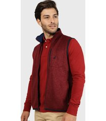 sweater nautica sin mangas rojo - calce regular
