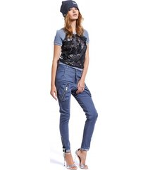 spodnie damskie forever united jeans zips szare