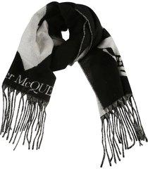 alexander mcqueen fringe detail logo scarf