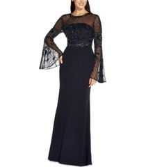 adrianna papell beaded flared-sleeve gown