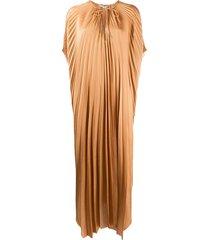 stella mccartney cape-sleeve pleated dress - brown