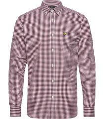 ls slim fit gingham shirt overhemd casual rood lyle & scott
