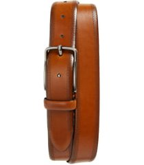 men's johnston & murphy perforated leather belt, size 44 - tan