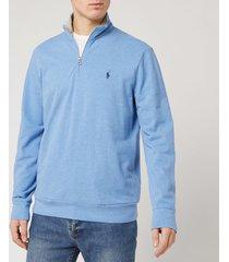 polo ralph lauren men's half zip sweatshirt - soft royal heather - l