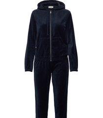 velour tracksuite sweat-shirts & hoodies tracksuits - sets blauw rosemunde