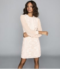 reiss aria - lace-detail dress in neutral, womens, size 14