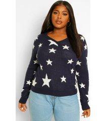 plus star jacquard v neck sweater, navy