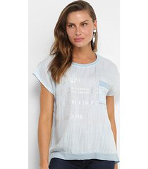 blusa facinelli estampada leve transparência lurex bolso feminina