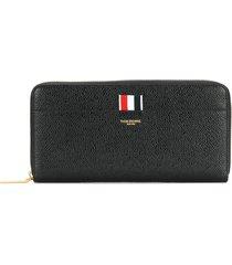 thom browne pebbled leather long zip-around purse - black