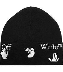 off-white ow logo virgin wool beanie