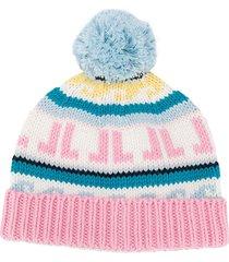 lanvin kids chunky knit beanie - pink