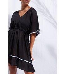 calzedonia pom pom dress woman black size tu