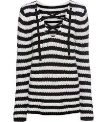 maglione a righe con stringhe (nero) - rainbow