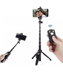 selfie stick. universal bluetooth selfie stick trípode monopie-negro