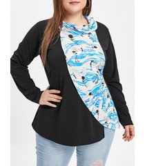 plus size cowl neck birds print t-shirt