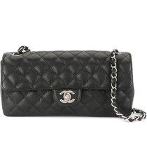 chanel pre-owned 2008 diamond quilt flap shoulder bag - black