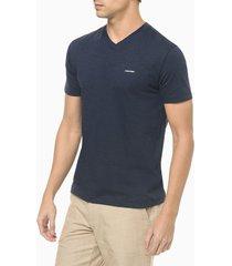 t-shirt slim flamê gola v - azul marinho - pp