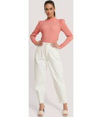 na-kd trend front dart slouchy jeans - white