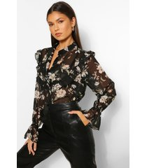 bloemenprint blouse met ruches, black