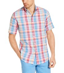 club room men's calder check short sleeve shirt, created for macy's